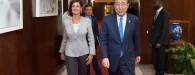 Secretary-General Ban Ki-moon (right) meets with H.E. Laura Boldrini, president of the Chamber of Deputies, Republic of Italy.