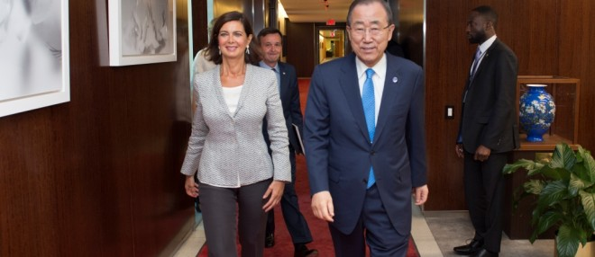 Secretary-General Ban Ki-moon (right) meets with H.E. Laura Boldrini, president of the Chamber of Deputies, Republic of Italy.