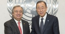 Secretary-General Ban Ki-moon meets with Mr. Ant—nio Guterres, High Commissioner, United Nations Human Rights. Farewell